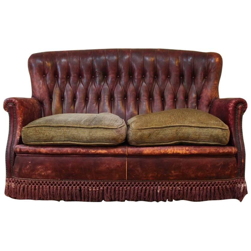Small 1940s Spanish Burgundy Leather Sofa For Sale at 1stdibs