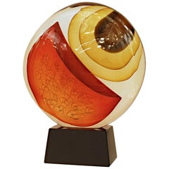 Stefano Toso,  Abstract Murano Glass Sculpture, Warm Colors Gold Sommerso, 1990s