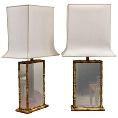 Unusual Pair of Faux Bamboo and Glass Table Lamps