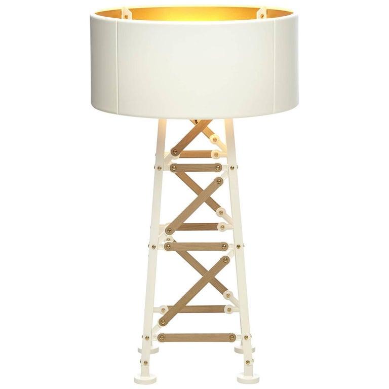 Moooi Construction Floor Lamp in Matt Black or White and Wood