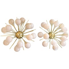 Pair of Half Sputnik Sconces in Light Pink-Beige Murano Glass, Flower Shape