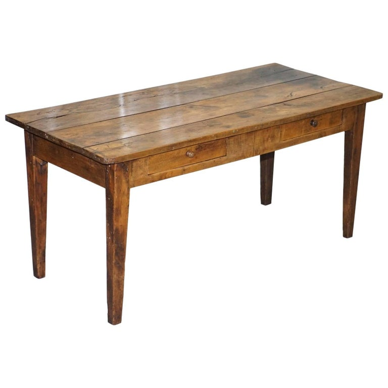 Farmhouse Kitchen Table With Drawers: Antique Farmhouse Walnut Refectory Dining Table To Seat