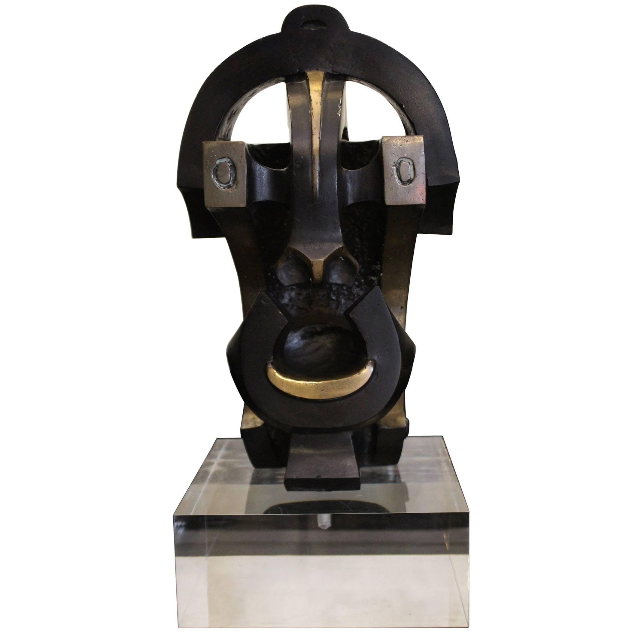"1970 Bronze Sculpture Ethnic Inspiration ""Mask"" Dark Color Plexiglass Base"