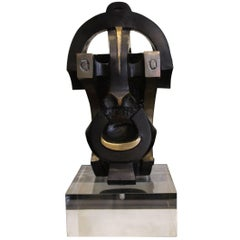 "1970 Bronze Sculpture Ethnic Inspiration ""Mask"" Dark Color Plexiglass Base"