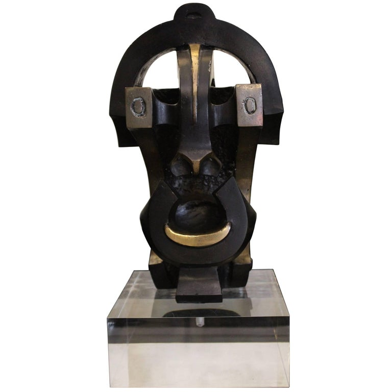 "1970 Bronze Sculpture Ethnic Inspiration ""Mask"" Dark Color Plexiglass Base For Sale"