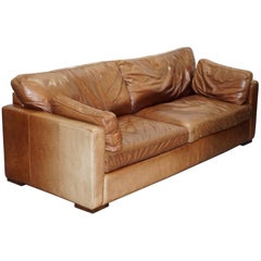 Vintage Heritage Brown Leather House of Fraser Four-Seat Sofa Distressed