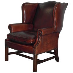 Georgian Wingback Vintage Leather Fireside Armchair Oxblood Heritage Leather Etc