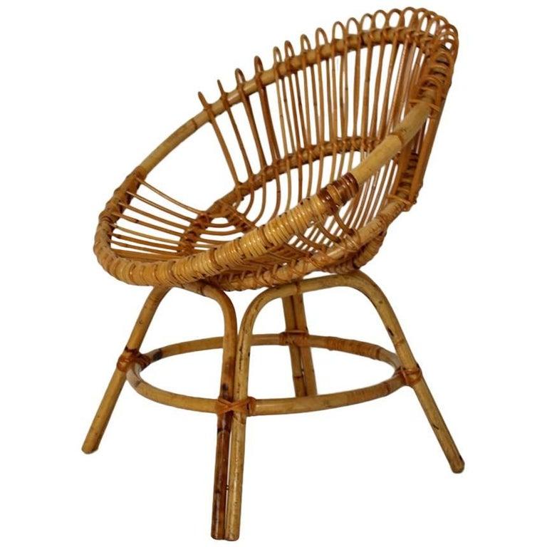 Mid Century Modern Rattan Chair By Janine Abraham Dirk Jan Rol France 1960s