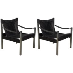 Pair of Black Leather and Chrome Bauhaus Style Safari Chairs