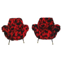 1950 Radice-Minotti Red and Black Synthetic Fur Armchairs