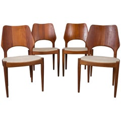 Set of Four Danish Modern Solid Teak Finback Dining Chairs, 1950s