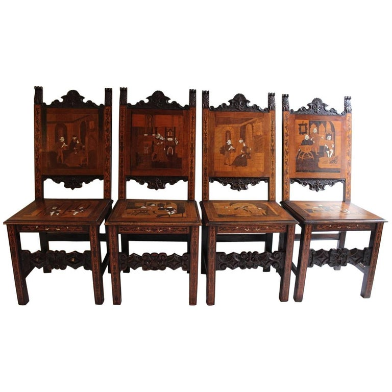 Set of Six Italian 19th Century Marquetry Chairs