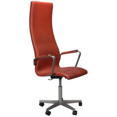 High Back Leather Oxford Desk Chair by Arne Jacobsen