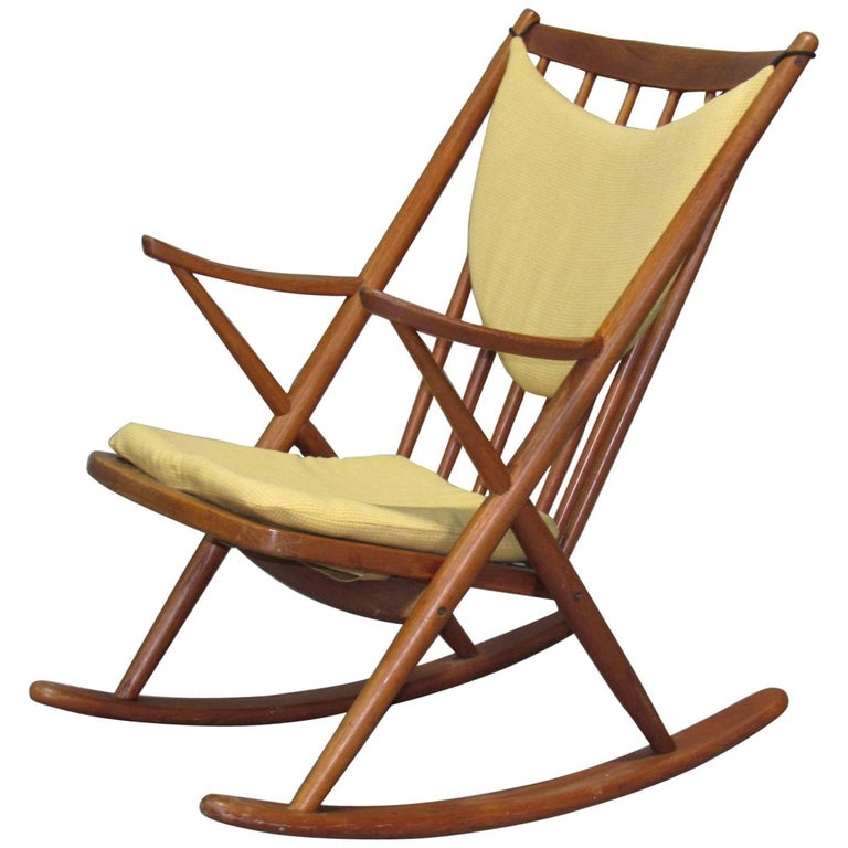 Danish Teak Rocking Chair by Frank Reenskaug for Brahmin