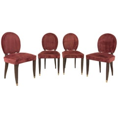 French Art Deco Dining Chairs, Maison Leleu, 1940, Set of Four