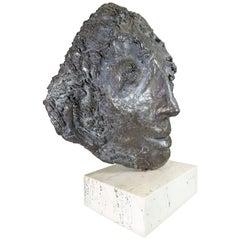 Bronze Sculpture of a Face by Almuth Lutkenhaus
