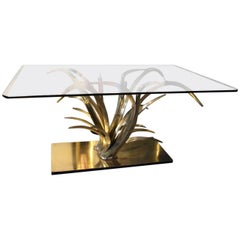 Spectacular 1970 Rectangular Brass Dining Table Maison Jansen Cut Glass Top