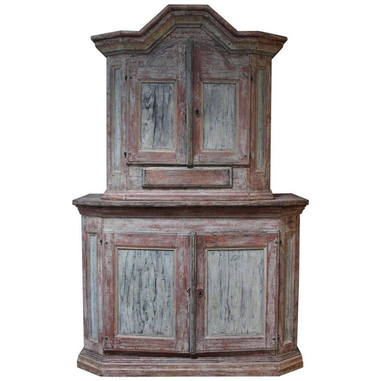 18th Century Swedish Painted Cupboard with Original Paint For Sale