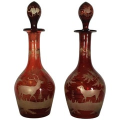 Austrian 19th Century Mouth Blown Red Crystal Bottles with Hunting Scene