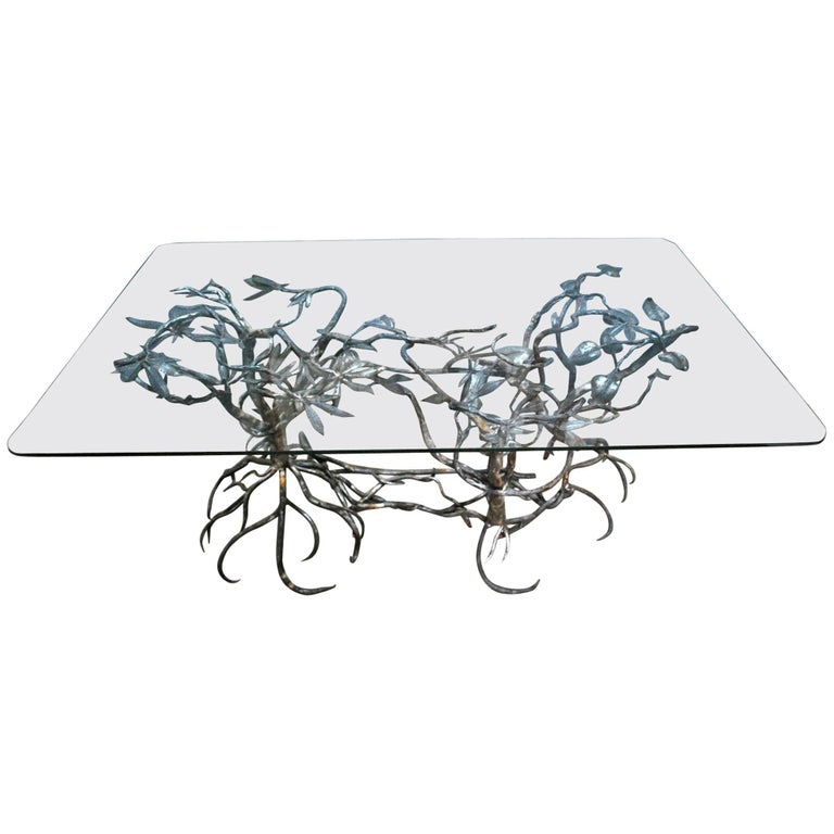 wrought iron tree base table for sale at 1stdibs. Black Bedroom Furniture Sets. Home Design Ideas