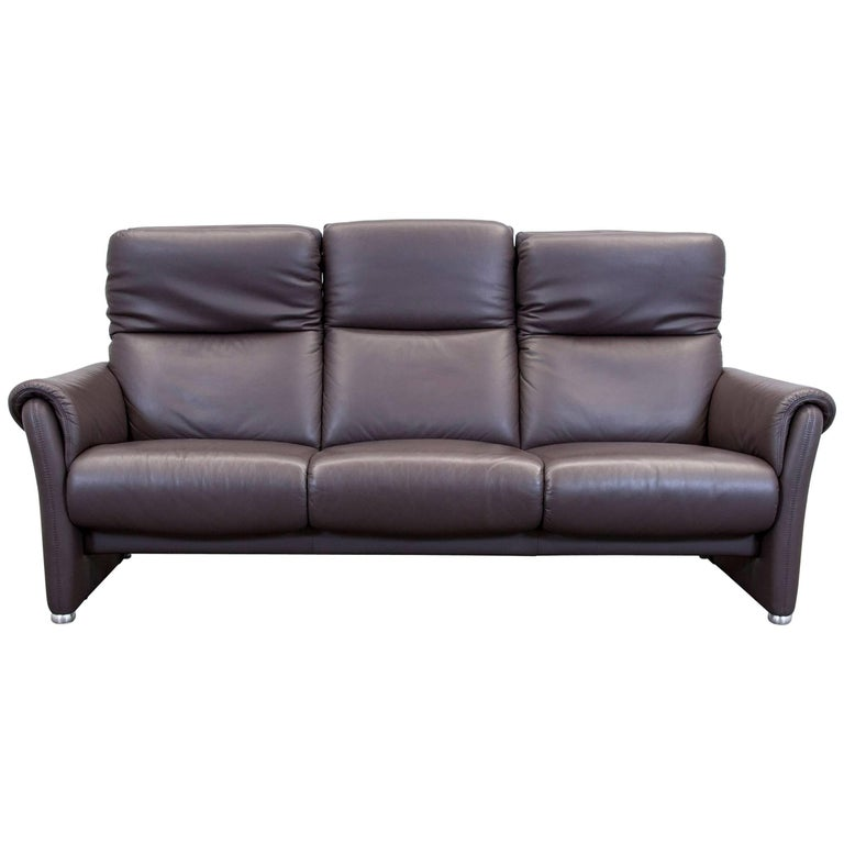 willi schillig designer sofa three seat brown leather. Black Bedroom Furniture Sets. Home Design Ideas