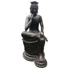 Japan Fine and Elegant Tall Bronze Cast Seated Kanon Maitreya, Beautiful Face