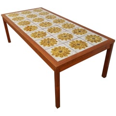 Teak and Tile Coffee Table