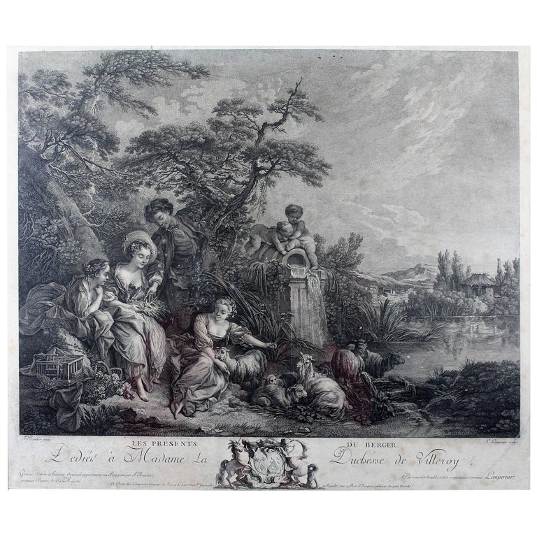 """Francois Boucher """"The Presents of the Shepherd"""" Large 18th Century Engraving"""