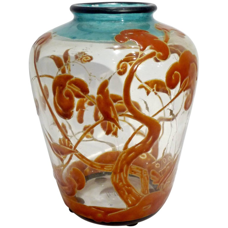 Marcel Goupy, an Art Nouveau Vase with an Enamel Polychrome Decoration, Signed 1