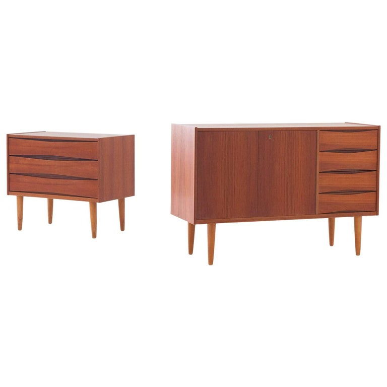 Set of Two Danish Teak Sideboard and Chest of Drawers, 1950s