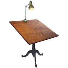 Quarter Sawn Oak and Cast Iron Drawing Table