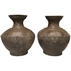 Pair of Antique Pottery Jars From The Han Dynasty