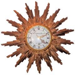 Carved Giltwood Sunburst with Clock Signed Lepaute a Paris