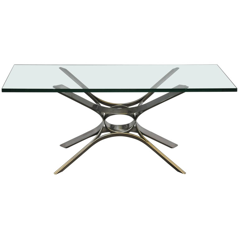 Sculptural Chrome Coffee Table by Roger Sprunger for Dunbar For Sale