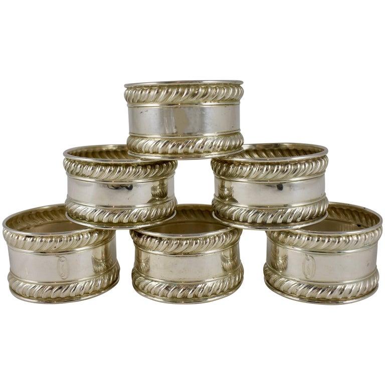 gorham estate sterling silver gadroon edged napkin rings