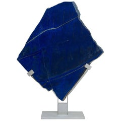Lapis Lazuli Natural Shape Sculpture in Metallic Base