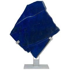 Lapis Lazuli Natural Shape Sculpture in Metallic Base