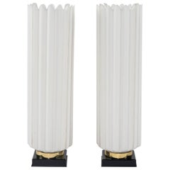 Pair of White Black and Brass Rougier Table Lamps