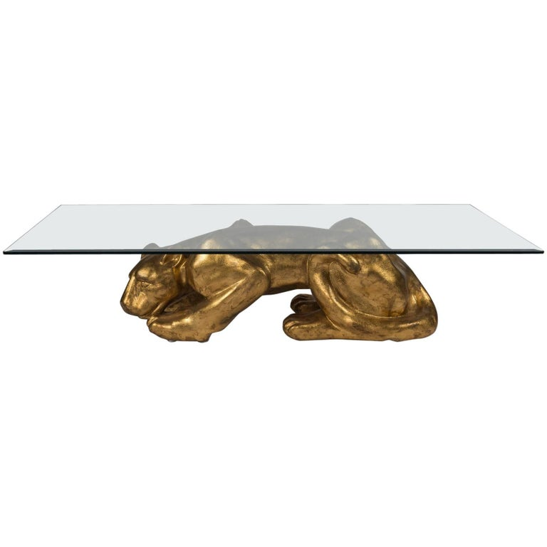 Gilt Panther Cocktail Table Italian Chrome And Glass Top