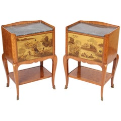 Pair of Louis XV Style Chinoiserie Decorated Occasional Tables