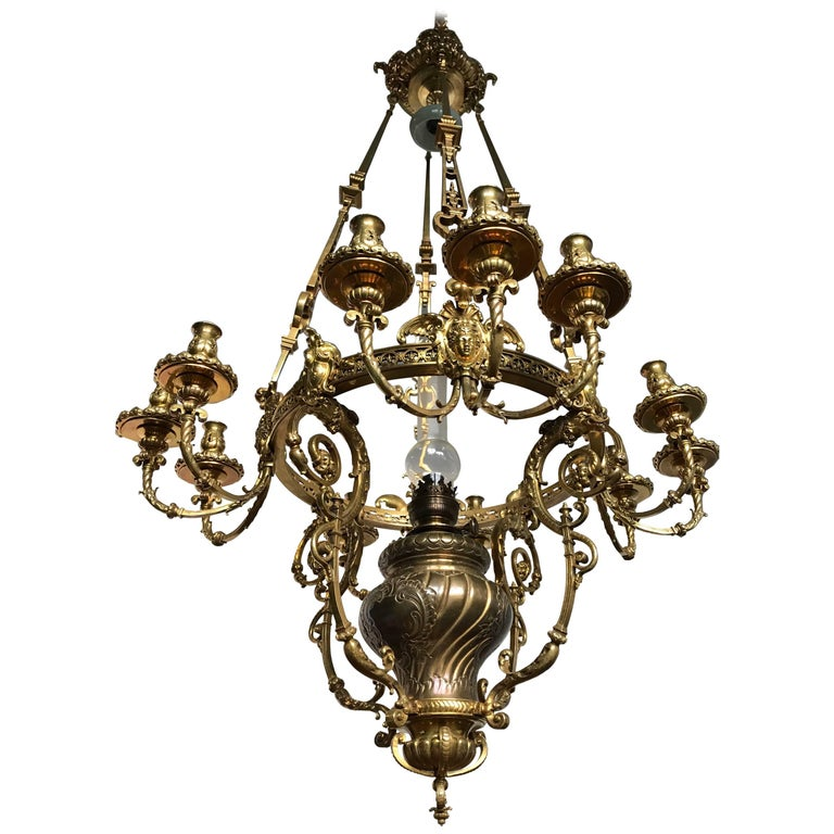 Antique Rare & Large Neo Classical Gilt Bronze Oil Lamp and 12 Candle Chandelier For Sale