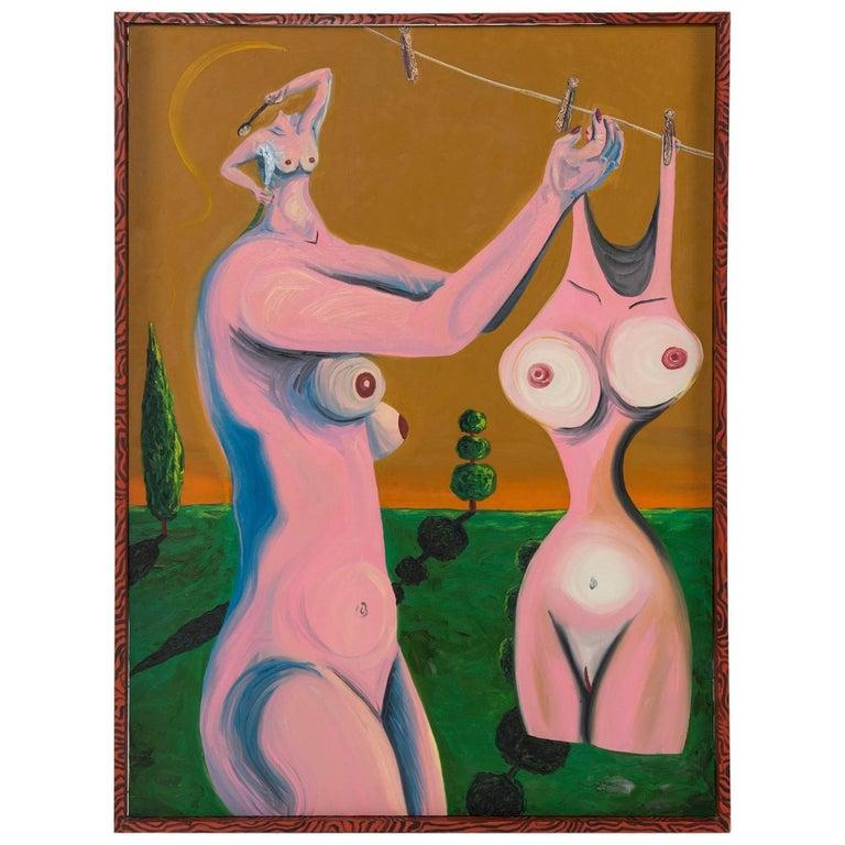 Neraldo de la Paz Pink Abstract Nude Oil on Canvas 1