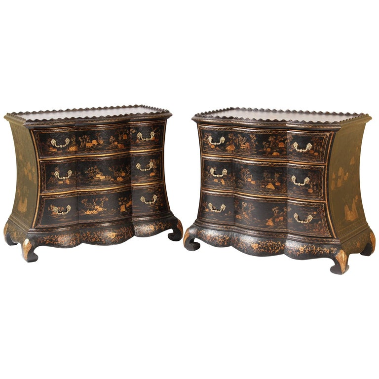 Pair Of Dutch Style Chinoiserie Decorated Commodes At 1stdibs