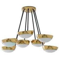 Stilnovo Brass Seven Shade Chandelier, 1950