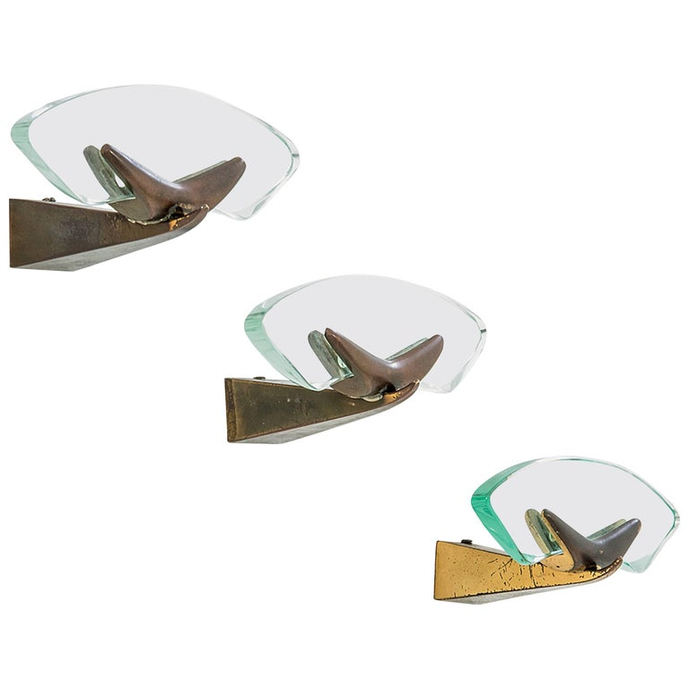 Set of Three Max Ingrand for Fontana Arte Brass and Cut-Glass Coat Hangers, 1950 For Sale