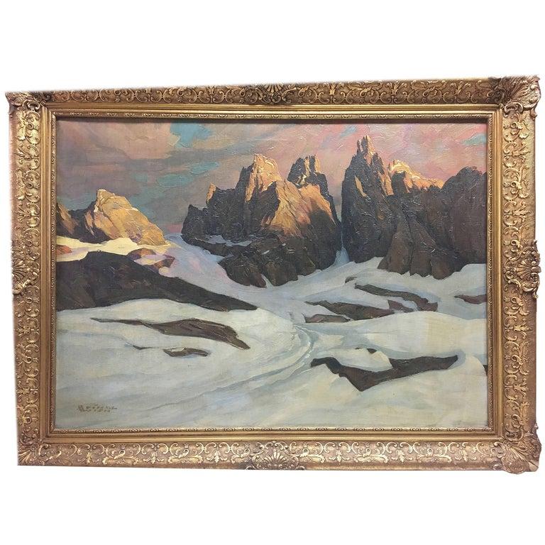 Rocky Sentinels in Winter Oil Painting by Albert Meindl Wein, Austria