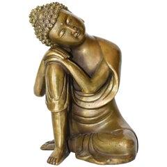 Brass Buddha Statue, a Thinking Buddha