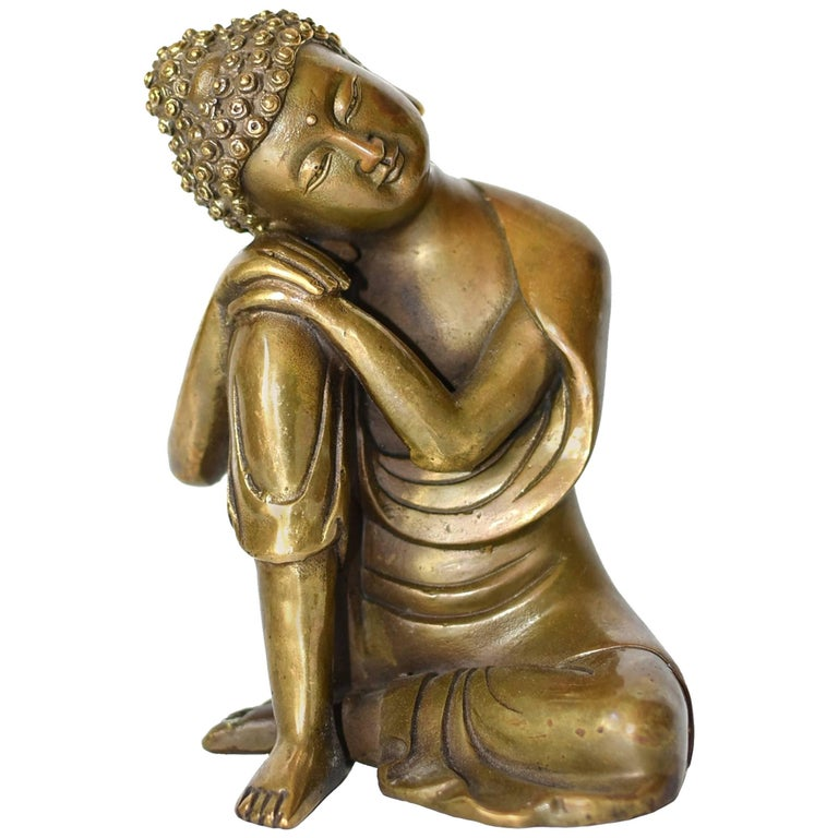 Brass Buddha Statue, a Thinking Buddha For Sale