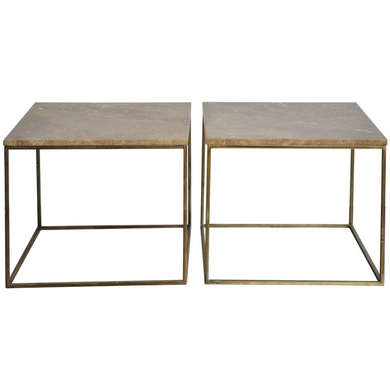 Milo Baughman Brass and Travertine Side Tables