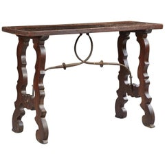 Spanish Carved Walnut Console Table with Iron Stretchers, 19th Century